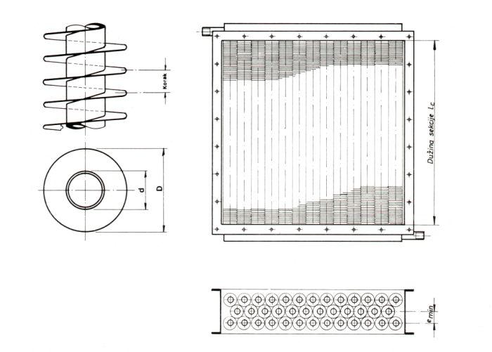 Dimenzije čeličnih izmjenjivača topline sa spiralno orebrenim cijevima